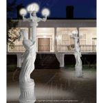 Fine's Gallery - White Marble Female Lamppost - LMP-025