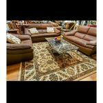 Fine's Gallery - Furniture Brown Leather 3pc and Rug - F-056