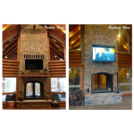 Acucraft Fireplace Systems - Custom See-Through Wood-Burning Indoor Outdoor Fireplace