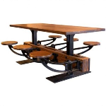 Get Back, Inc. - Freestanding 6 Seat Cast Iron & Wood Swing out Seat Table - Wood Top