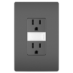 Pass & Seymour - Night Light with Two 15A Tamper-Resistant Outlets, Black - NTL885TRBKCC6