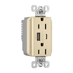 Pass & Seymour - PlugTail® Commercial Specification Grade 15A USB Charging Receptacles, Ivory