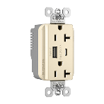 Pass & Seymour - PlugTail® Commercial Specification Grade 20A USB Charging Receptacles, Light Almond