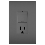 On-Q® - Single Pole/3-Way Switch & 15A Tamper-Resistant Outlet, Black