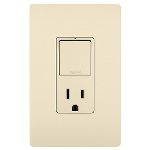 On-Q® - Single Pole/3-Way Switch & 15A Tamper-Resistant Outlet, Light Almond
