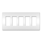 On-Q® - Five-Gang Screwless Wall Plate, White