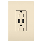 On-Q® - USB Chargers with Duplex 15A Tamper-Resistant Outlets, Light Almond