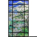 Stained Glass Inc. - White Magnolias Panel #5211 - Stained Glass Window Insert