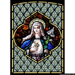 Stained Glass Inc. - Mary, Lily and Sacred Heart Panel #3952 - Stained Glass Window Insert