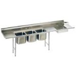 Eagle Group - 16/304 Stainless Steel Soiled Dishtable with 3-Compartment Sink