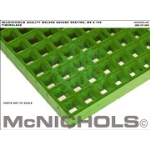 "McNichols Company - Molded Grating, Fiberglass, SGF Polyester Resin, Green 1-1/2"" Square Grid, 1-1/2"" Thickness, Concave"