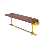 Allied Brass - Astor Place Collection Solid IPE Ironwood Shelf with Integrated Towel Bar - Polished Brass