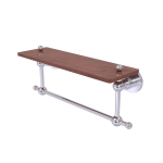 Allied Brass - Astor Place Collection Solid IPE Ironwood Shelf with Integrated Towel Bar - Satin Chrome