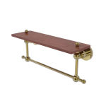 Allied Brass - Astor Place Collection Solid IPE Ironwood Shelf with Integrated Towel Bar - Unlacquered Brass