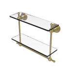Allied Brass - Astor Place Collection Two Tiered Glass Shelf with Integrated Towel Bar - Satin Brass