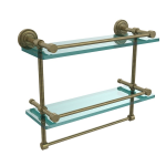 Allied Brass - Dottingham Collection Gallery Rail Double Glass Shelf with Towel Bar - Antique Brass