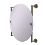 Allied Brass - Dottingham Collection Round Frameless Rail Mounted Mirror - Antique Brass