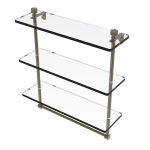 Allied Brass - Foxtrot Collection Triple Tiered Glass Shelf with Integrated Towel Bar - Antique Brass