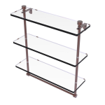 Allied Brass - Foxtrot Collection Triple Tiered Glass Shelf with Integrated Towel Bar - Antique Copper