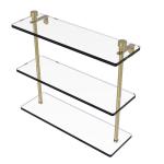 Allied Brass - Foxtrot Collection Triple Tiered Glass Shelf - Satin Brass