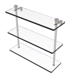 Allied Brass - Foxtrot Collection Triple Tiered Glass Shelf - Satin Nickel