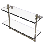 Allied Brass - Foxtrot Collection Two Tiered Glass Shelf with Integrated Towel Bar - Antique Brass