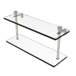Allied Brass - Foxtrot Collection Two Tiered Glass Shelf - Polished Nickel