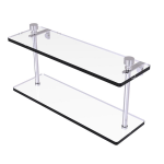 Allied Brass - Foxtrot Collection Two Tiered Glass Shelf - Satin Chrome