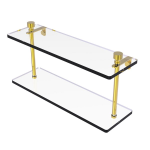 Allied Brass - Foxtrot Collection Two Tiered Glass Shelf - Unlacquered Brass