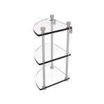 Allied Brass - Three Tier Corner Glass Shelf - Satin Nickel