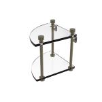 Allied Brass - Two Tier Corner Glass Shelf - Antique Brass