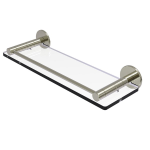 Allied Brass - Fresno Collection Glass Shelf with Vanity Rail - Polished Nickel