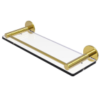 Allied Brass - Fresno Collection Glass Shelf with Vanity Rail - Unlacquered Brass