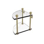 Allied Brass - 2 Tier Corner Glass Shelf - Satin Brass