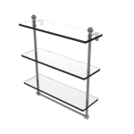 Allied Brass - Mambo Collection Triple Tiered Glass Shelf with Integrated Towel Bar - Matte Gray