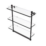 Allied Brass - Mambo Collection Triple Tiered Glass Shelf with Integrated Towel Bar - Oil Rubbed Bronze