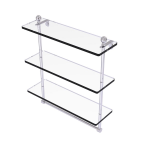 Allied Brass - Mambo Collection Triple Tiered Glass Shelf with Integrated Towel Bar - Polished Chrome
