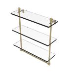 Allied Brass - Mambo Collection Triple Tiered Glass Shelf with Integrated Towel Bar - Satin Brass