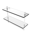 Allied Brass - Mambo Collection Two Tiered Glass Shelf with Integrated Towel Bar - Matte White