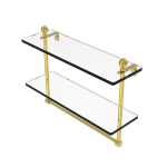 Allied Brass - Mambo Collection Two Tiered Glass Shelf with Integrated Towel Bar - Polished Brass