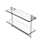 Allied Brass - Mambo Collection Two Tiered Glass Shelf with Integrated Towel Bar - Polished Nickel