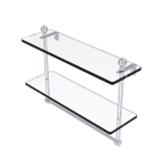 Allied Brass - Mambo Collection Two Tiered Glass Shelf with Integrated Towel Bar - Satin Chrome
