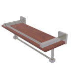 Allied Brass - Montero Collection IPE Ironwood Shelf with Gallery Rail and Towel Bar - Satin Nickel