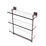 Allied Brass - Montero Collection Triple Tiered Glass Shelf with integrated towel bar - Antique Copper