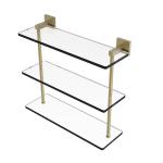 Allied Brass - Montero Collection Triple Tiered Glass Shelf - Satin Brass