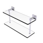 Allied Brass - Montero Collection Two Tiered Glass Shelf - Satin Chrome