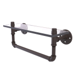 Allied Brass - Pipeline Collection Glass Shelf with Towel Bar - Oil Rubbed Bronze