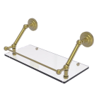 Allied Brass - Prestige Que New Floating Glass Shelf with Gallery Rail - Satin Brass