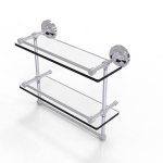 Allied Brass - Prestige Regal Collection Gallery Rail Double Glass Shelf with Towel Bar - Polished Chrome
