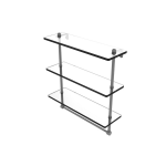 Allied Brass - Prestige Regal Collection Triple Tiered Glass Shelf with Integrated Towel Bar - Matte Gray